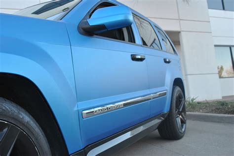 matte blue jeep matte blue metallic jeep grand cherokee color change wrap