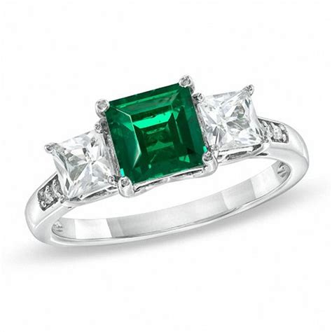6 0mm princess cut lab created emerald and white sapphire