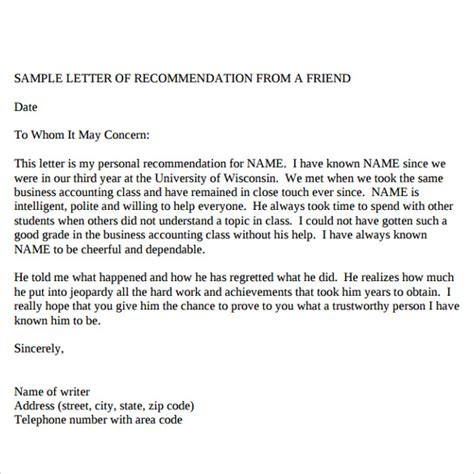 Recommendation Letter Of A Friend Sle Reference Letters 17 Free Documents In Pdf Word