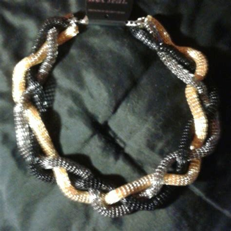 Guess Gold Black guess guess gold silver black braided necklace nwot