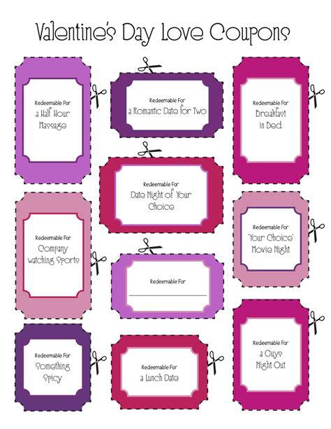 printable love coupons book instant download blank