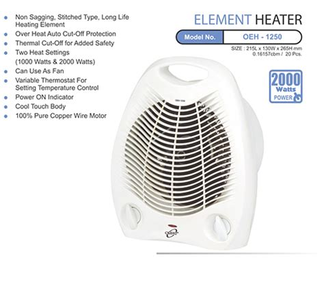 room heat blower specifications of orpat oeh 1250 fan room heater