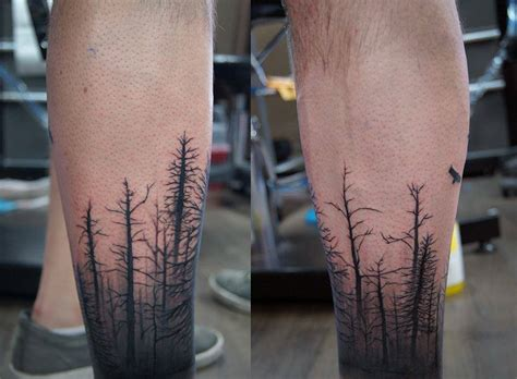 forest sleeve tattoos calf sleeve dead forest and birds chronic ink