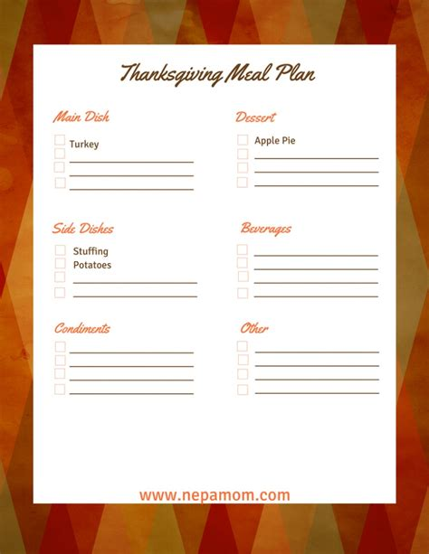 thanksgiving menu planner template thanksgiving menu template an easy way to prepare for the