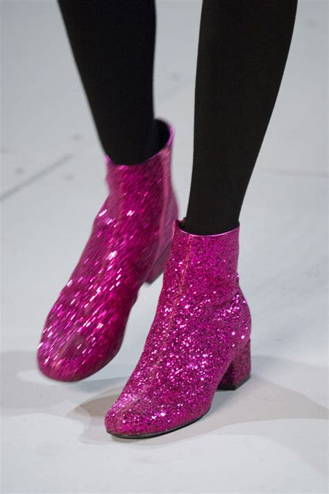 yves laurent pink glitter boots