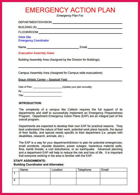 emergency action plan template sop exles