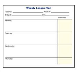 Weekly Lesson Plan Template by Doc 425550 Weekly Lesson Plan Template Weekly Lesson