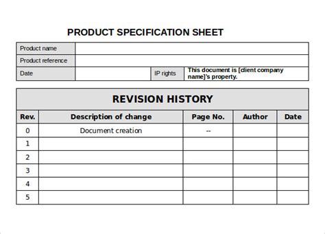 technical specification template exle 12 specification sheet sles sle templates
