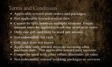 Gift Card Terms And Conditions - tyson zahner photography double your money gift card sale this weekend only tyson
