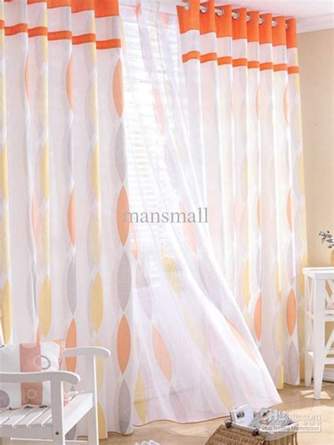 Geometric Orange Curtains Concise Orange Geometric Poly Cotton Blend Trendy Curtains Sheer Set U10 17t8 Pink Sheer
