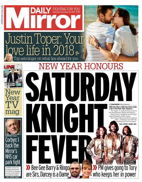 Cover The Mirrors mirror newspaper uk