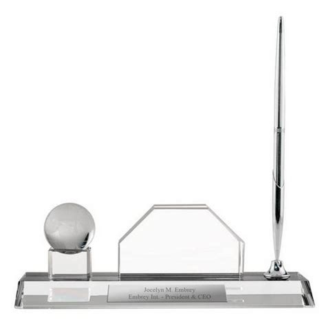 Personalized Crystal Desktop Business Card Holder with