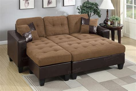 poundex cantor f6929 brown leather sectional sofa and