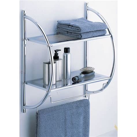Chrome Bathroom Shelves For Towels Shelves 2 Tier Shelf With Towel Bars By Neu Home Kitchensource