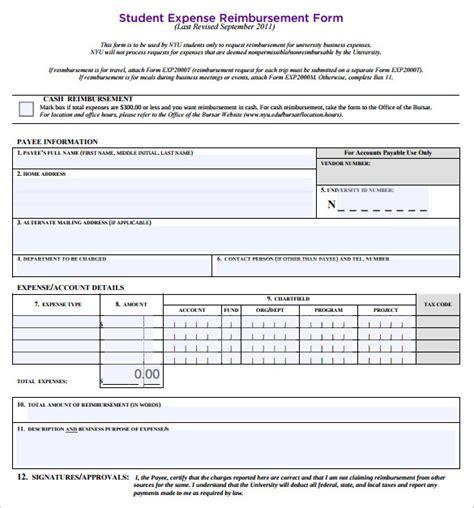 cfa report template sle expense reimbursement form 8 free