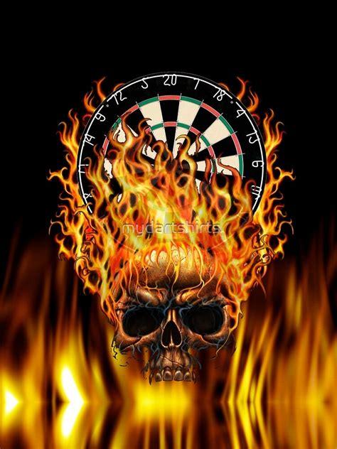 flaming skull dartboard  shirt  mydartshirts redbubble