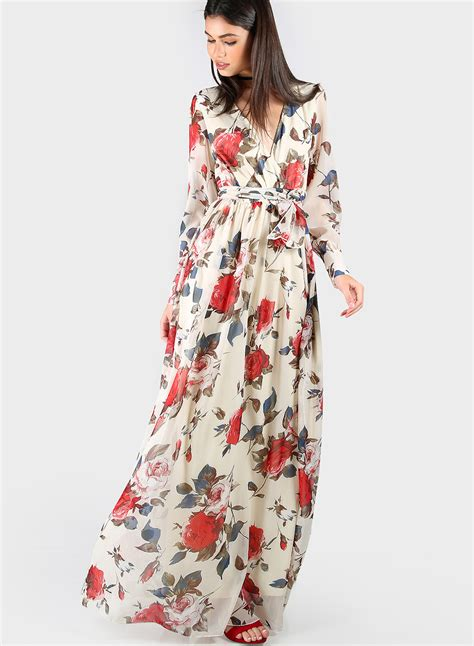 Flores Maxy s fashion v neck sleeve floral maxi dress with