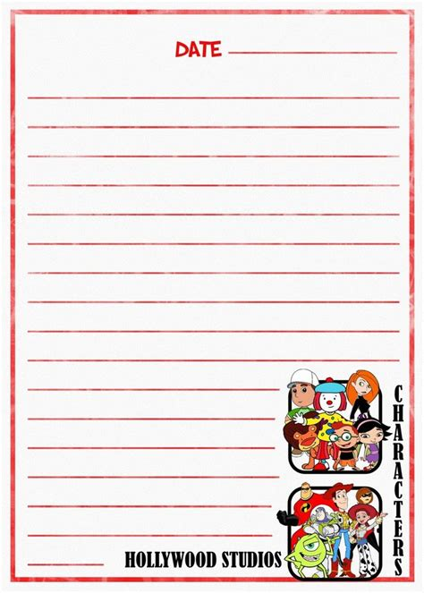 printable disney journal pages hollywood studios characters journal page disney