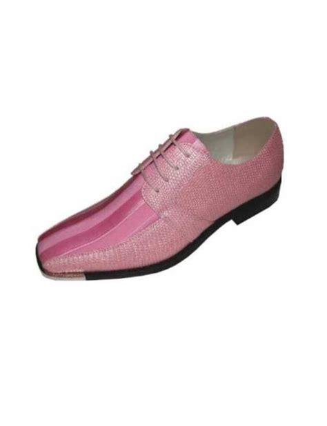 mens pink classic oxford striped satin dress shoes