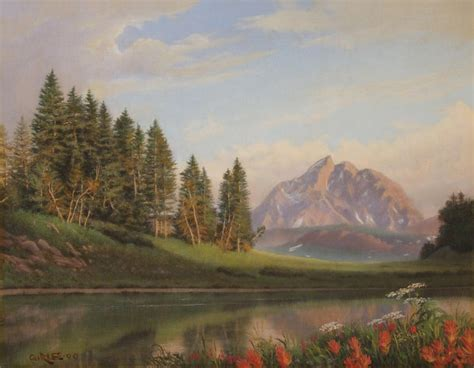 wildflowers mountains river western original western landscape painting by walt curlee