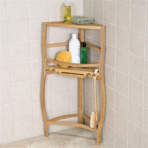 Shower Racks by Freestanding Teak Curved Corner Shower Shelf With Pull Out Soap Dish Bathroom