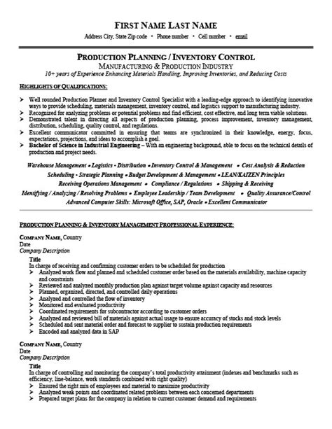 Production Planner Resume by Production Planner Or Inventory Controller Resume Template