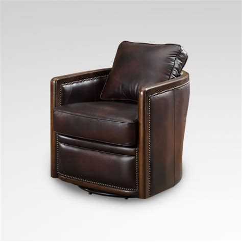 34 quot w swivel base tub chair vintage chocolate brown soft