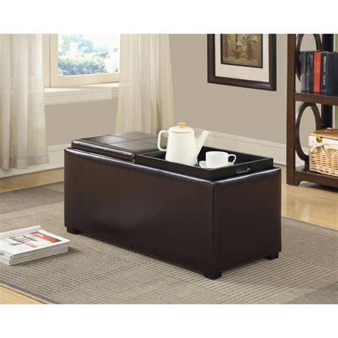 brown leather storage ottoman with tray simpli home avalon faux leather storage ottoman with