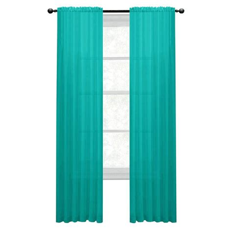 Turquoise Sheer Curtains Window Elements Sheer Turquoise Rod Pocket Wide Curtain Panel 56 In W X 95 In L
