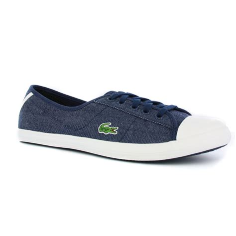 lacoste ziane canvas s blue trainers shoes ebay