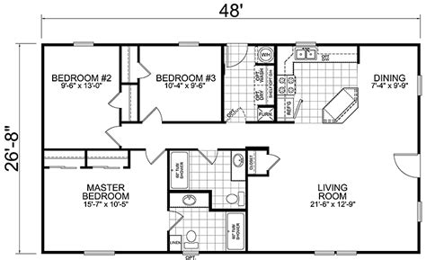 3 Bedroom 2 Bath Floor Plan | 28 x 50 floor plan 3 bedroom 28 x 48 floorplan 1 floor