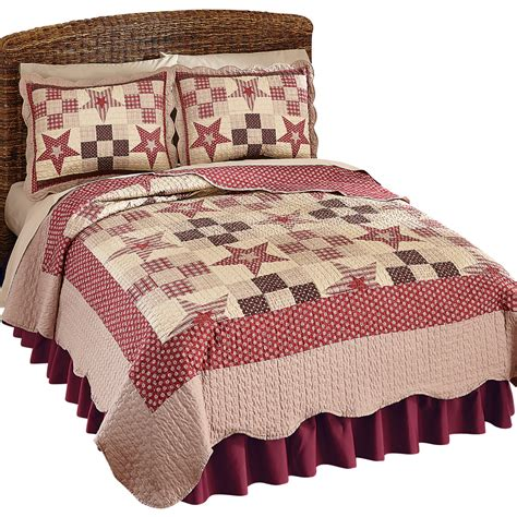 Patchwork Country Quilts - country checkered floral patchwork reversible