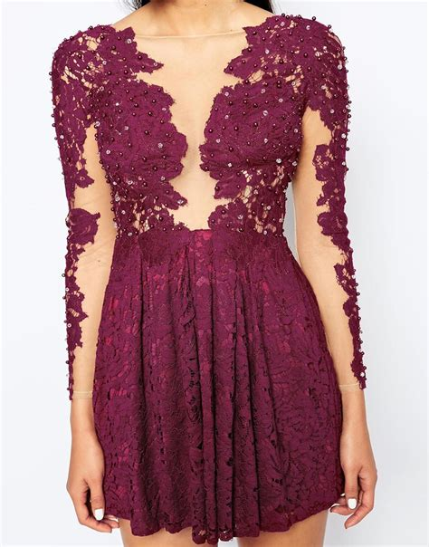 Lace Applique by Lyst Opulence Skater Dress With Lace Applique In Purple