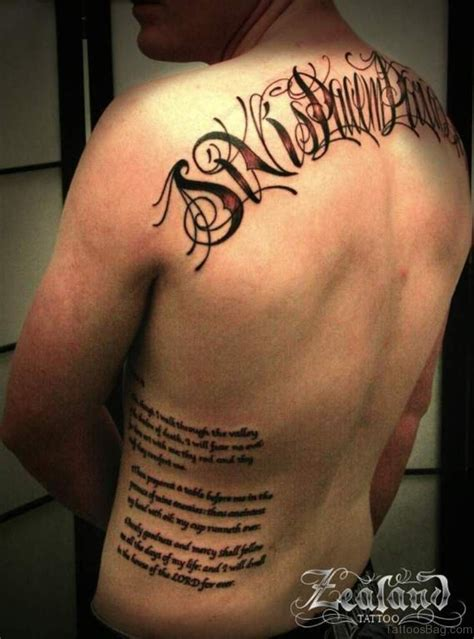 side back tattoos 66 cool lettering tattoos for back