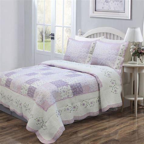 beautiful purple lilac cottage white lavender green lilac quilt set king queen ebay
