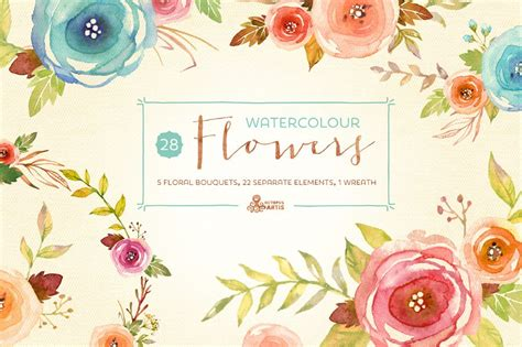 watercolor flowers pack illustrations creative market