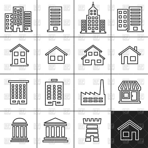types of house architecture icons of buildings of different architecture types royalty