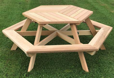 Six Person Hexagonal Cedar Picnic Table w/ Parquet Style Top