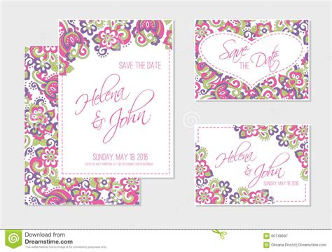 colorful wedding invitation templates set of wedding invitation or anniversary cards with