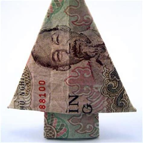 fold dollar into christmas tree how to fold money origami or dollar bill origami