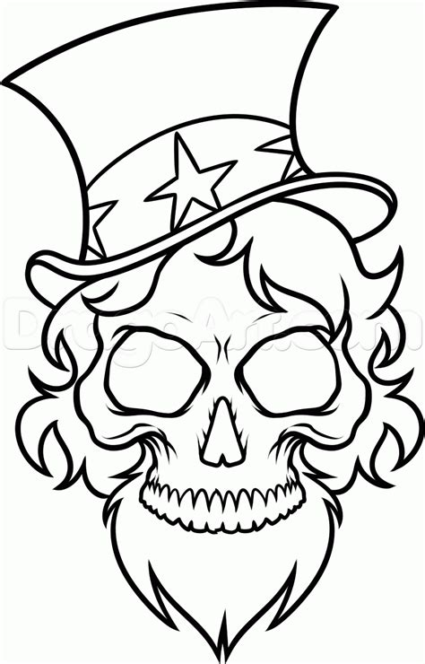 army skull coloring pages how to draw uncle sam skull step 9
