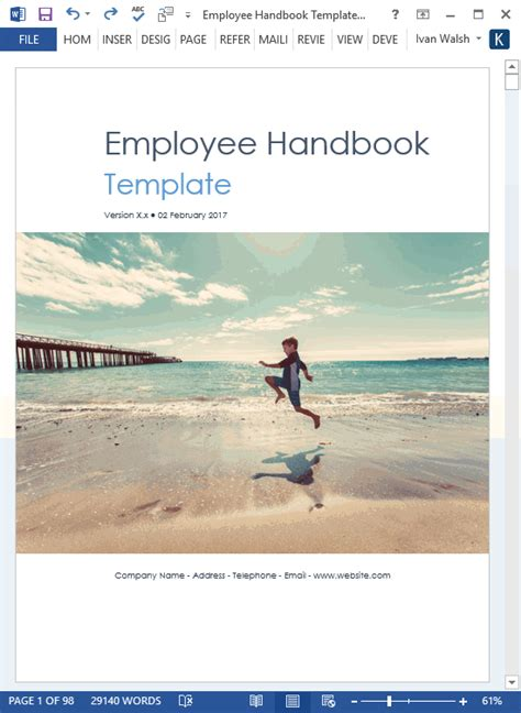 non emergency manual template employee handbook template 100 pg ms word