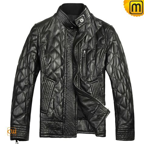 Mens Quilted Black Jacket by Black Quilted Leather Jacket For Cw804052