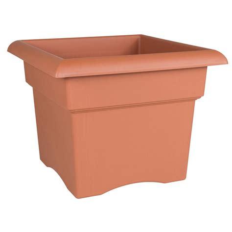 Plastic Planter Boxes Home Depot by Bloem Veranda 18 In Terra Cotta Plastic Deck Box Planter