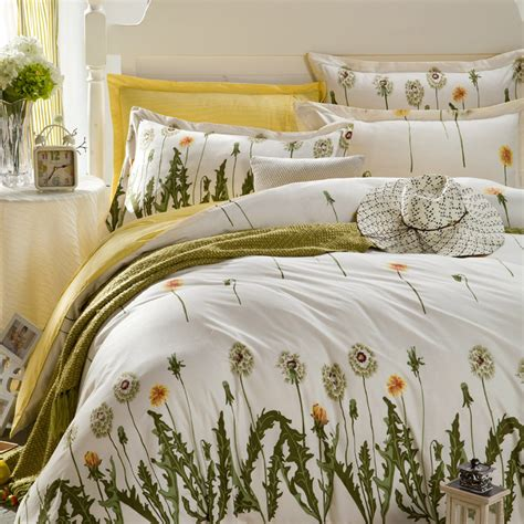 white yellow floral duvet cover set 4 pcs cotton dots