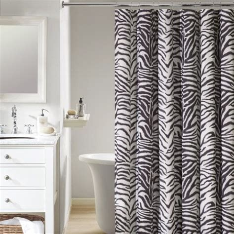 Black Print Curtains And Black Zebra Print Curtain For Shower Useful