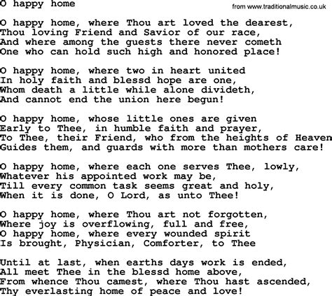 wedding hymns and songs o happy home txt lyrics chords