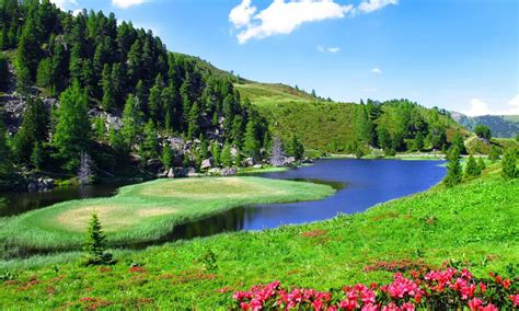 spring landscaping spring landscape slope sky nature river 2560x1600 hd