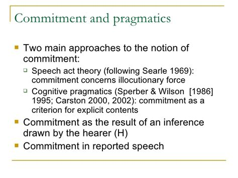 Searle 1969 Speech Acts An Essay In The Philosophy Of Language by What Are You Saying He Implied Inferring Commitment From Reported Sp