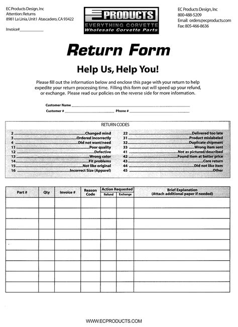 7 Best Photos Of Return Of Goods Form Free Return Goods Form Template Return And Exchange Return Exchange Form Template